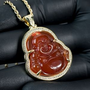 Red Jade Agate Iced 5A Cz Buddha Necklace